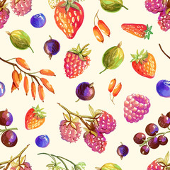 Seamless pattern with hand drawn berries - strawberry, wild stra