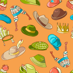 Seamless colorful bright pattern with doodle hats