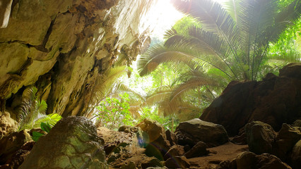 Travel Cave in Hup patat National park, Uthaithani province,Thailand
