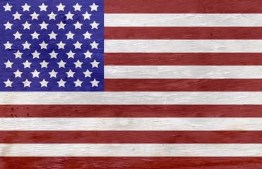 American flag on wood grain texture
