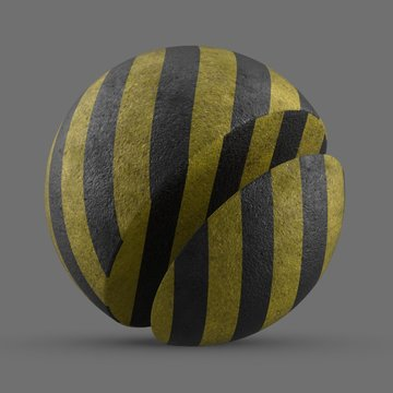Yellow and black stripes painted concrete