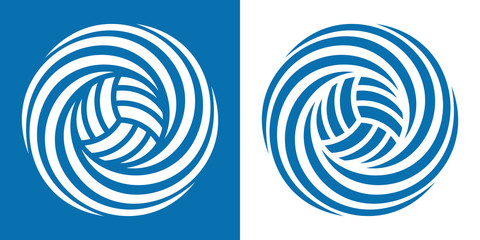 Volleyball icon in two various coloring. Vector image for sports design.