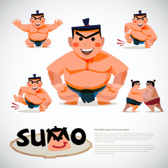 Sumo wrestler in action set. character design, japanese  traditi