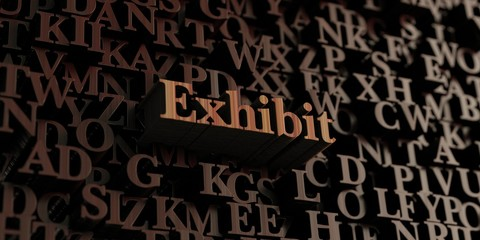 Exhibit - Wooden 3D rendered letters/message.  Can be used for an online banner ad or a print postcard.