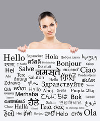 Beautiful girl with a banner of languages