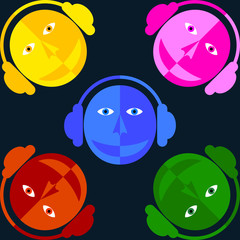 DJ colored faces. Man in the headphones. Black background.