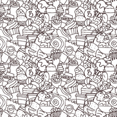 Hand drawn fast food seamless pattern
