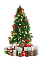 Decorated Christmas tree with presents isolated on white