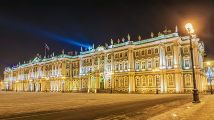 The Hermitage in St. Petersburg winter night view