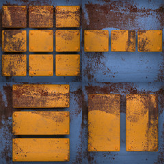Rusted blue painted metal wall background set
