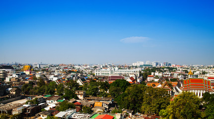 Bangkok city view and blue sky in Thailand