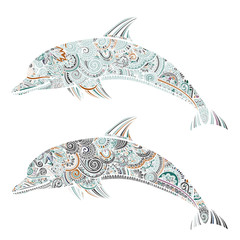 Hand drawn doodle dolphin zen tangle style beautiful doodles. illustration of sea animals