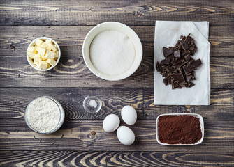 Ingredients for brownies on classic recipe