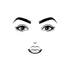 Female Lips, Eyes and Eyebrows. Beauty Industry Design Elements Vector