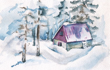Winter landscape. Forest house. Watercolor illustration. Greeting card.