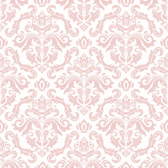 Seamless oriental pattern in the style of baroque. Traditional classic ornament. Pink pattern