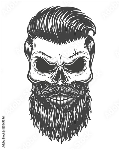U0026quot;Monochrome Illustration Of Skull With Beard Mustache Hipster Haircut. Isolated On White ...