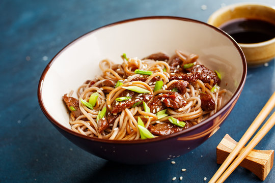 Spicy japanese soba noodles with beef