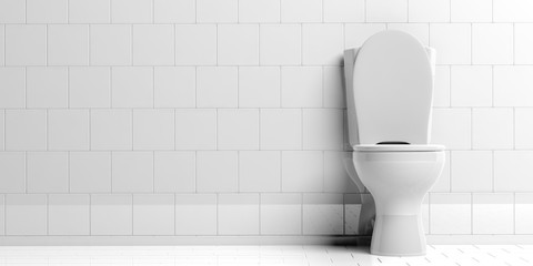 Toilet bowl isolated on white background, copy space. 3d illustration