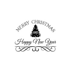 Christmas Tree. Merry Christmas and Happy New Year Label. Template for Greeting cards.