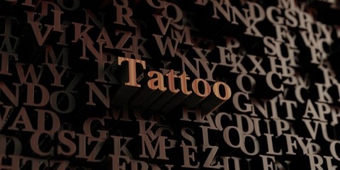 Tattoo - Wooden 3D rendered letters/message.  Can be used for an online banner ad or a print postcard.
