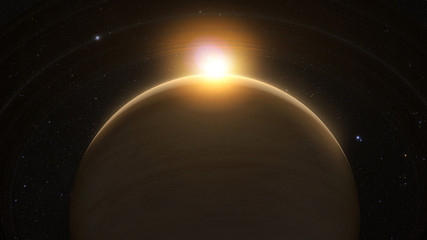 Wall Mural - planet saturn with rings at sunrise on the space background. 3D render.