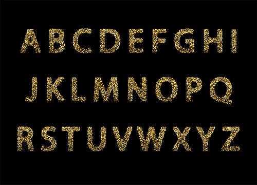 Vector golden glitter english alphabet