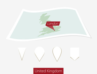 Curved paper map of United Kingdom with capital London on Gray Background. Four different Map pin set. Vector Illustration.