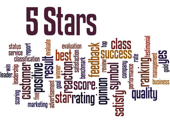 5 Stars, word cloud concept 2