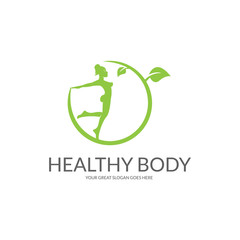 Healthy body logo.  Design concept for sport, spa, yoga etc. Easy to edit, change size, colour and text.
