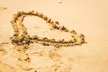 Heart Drawn in the Sand, Wallpaper Beach Background