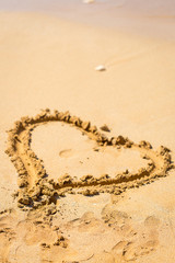Heart Drawn in the Sand, Mauritius, Love Concept, Vertical View