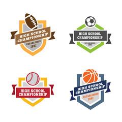 Sport Logos design vector: Football Soccer Baseball Basketball