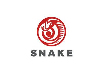 Snake Logo circle shape design vector. Mascot Viper poison icon