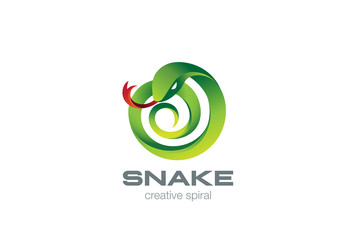 Snake Logo circle shape design vector. Viper Logotype icon