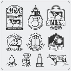 Cow's milk labels, emblems, icons and design elements. Fresh milk from the farm.