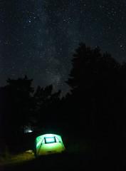 Млечный путь над палаткой в лесу летом