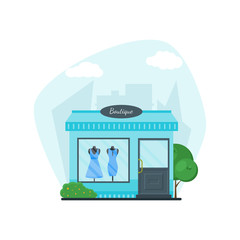 Flat shop store. Shopping mall building on city background. Good architecture for card, banner, real estate, poster, postcard. Market shop place. Business marketing. Vector illustration.
