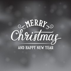 Merry Christmas and Happy New Year text on the snowy background. Vector lettering. Xmas card.