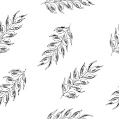 Olive branch with berry and leaf diet plant superfood ingredient. Natural organic hand drawn vector sketch illustration. Isolated on white background. Olive black, green, oil. Seamless pattern