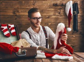 Hipster young Santa Claus