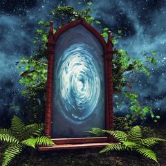Magiczny portal na łące z paprocią i bluszczem na tle nocnego nieba