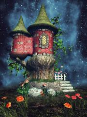 Pałac elfów na łące z kolorowymi kwiatami nocą