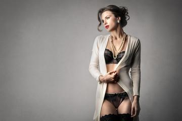 Elegant woman in sensual black lingerie