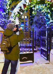 Tourist in Moscow during Christmas holiday