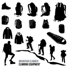 Traveler and Climber Backpack Carrier Back and Equipment Silhouette
