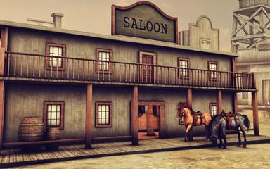Konie na ulicy przed barem na Dzikim Zachodzie