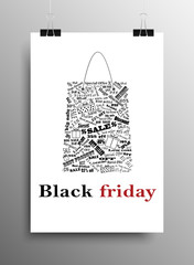 Vertical Poster A4. Black Friday. Sale Discount.