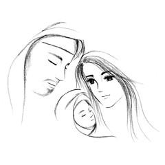 Baby Jesus and Mary Joseph hand drawn illustration | Christmas season scene | Christian art drawing