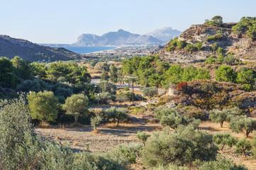 Rhodes Island, Greece. Landscape near resort Faliraki. Road to the Antony Quin beach and Ladiko beach.  East Coast of the Greek Island of Rhodes.